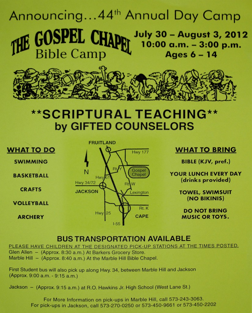 2012 Day Bible Camp Flyer